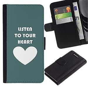For Sony Xperia Z1 Compact / Z1 Mini / D5503,S-type® Quote Love Motivational Teal White - Dibujo PU billetera de cuero Funda Case Caso de la piel de la bolsa protectora