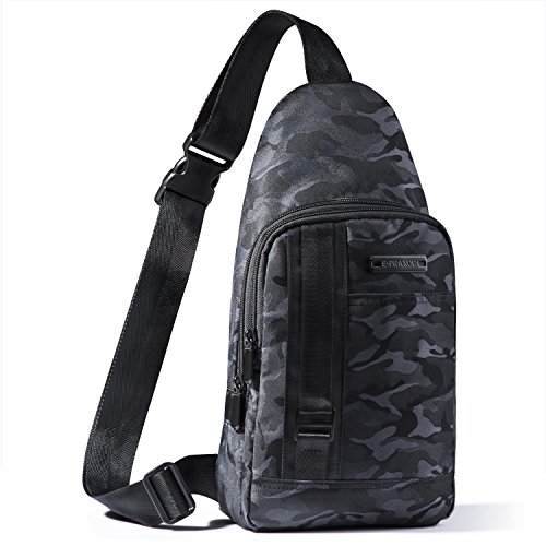 - E-PRANCE Sling Backpack, Chest Bag Shoulder Backpack Crossbody Travel Backpack for School Cycling Hiking Camping Sport Travel - Black with Camouflage Patterns