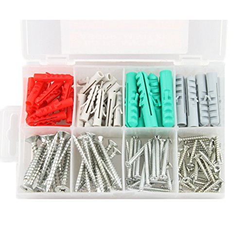 Self Drilling drywall anchors screw assortment, heavy duty drywall anchors with screws, molly bolts, sheetrock anchors (110 pcs plastic wall anchors and (Rock Anchor Bolts)