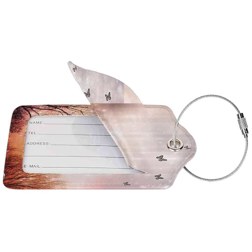 Multi-patterned luggage tag Fantasy Dreamy Butterflies and Over Trees Romantic Sky Artistic Design Double-sided printing Orange and Black W2.7 x L4.6