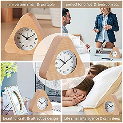 Artinova Handmade Classic Clock Wooden Silent Desk Alarm Clock with Nightlight for Home Bedroom Office ARTA-0068