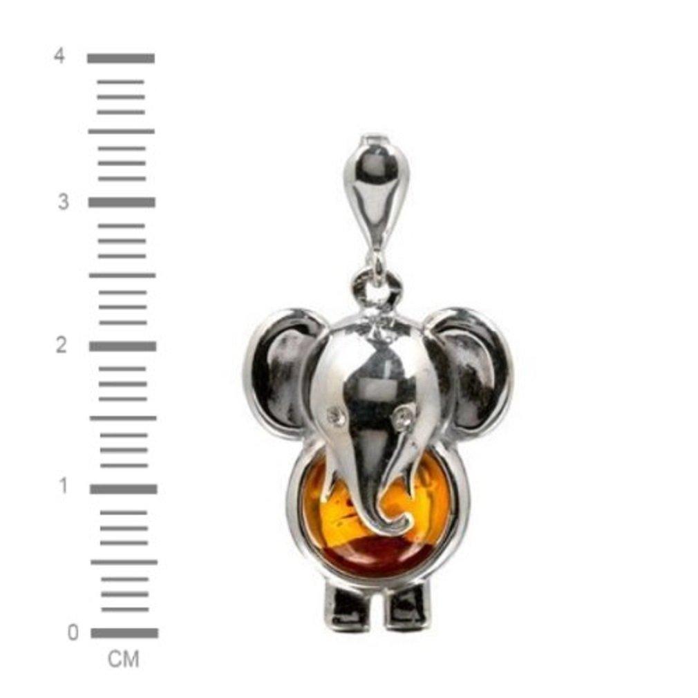 Colgante con forma de elefante de plata de ley y /ámbar b/áltico color miel Noda