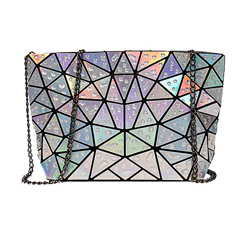 Mily Women Girls Geometric Clutch Purse PU Leather Chain Cross Body Bag Messenger Shoulder Bag Sliver