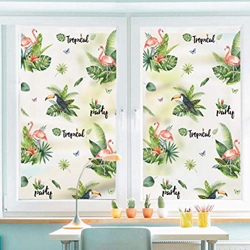 ZYBKOG Wall Sticker Green Leaf Flamingo Frosted Opaque Glass Window Film For Window Glue Free Glass Sticker Bedroom Home Decor