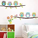 Soledi New Cute DIY Removable Colorful Six Owls Bird Branch Vinyl Decal PVC Wall Mural Sticker