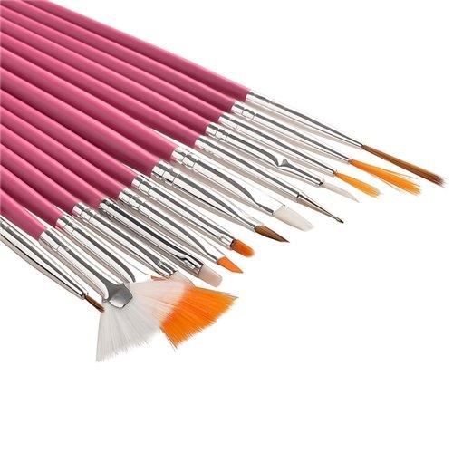 15pcs Acrylic Nail Art Design Painting Tool Pen Polish Brush Set Kit DIY Pro