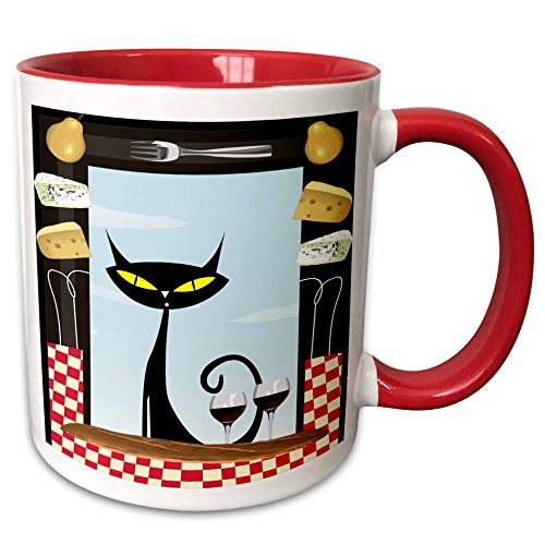 3dRose Spiritual Awakenings Cats Animals - Gourmet food frame cheese, checkered table cloth, wine glasses and a black fancy cartoon cat - 15oz Two-Tone Red Mug (mug_128912_10) ()