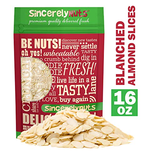 (Sincerely Nuts - Raw Blanched Sliced Almonds | 1 Lb. Bag | Delicious Guilt Free Snack | Low Calorie, Vegan, Gluten Free | Gourmet Kosher Food | Source of Fiber,)