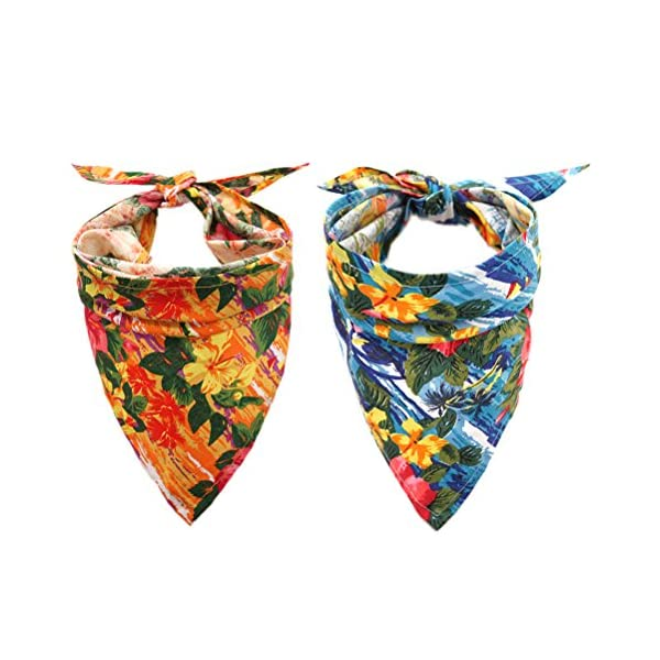 EXPAWLORER Dog Bandana with Hawaii Style – 2 Pack Triangle Dog Head Scarf Holiday Bandana Accessories for Small to Large Pet