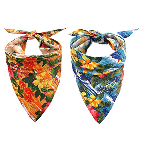 EXPAWLORER Dog Bandana with Hawaii Style - 2 Pack Triangle Dog Head Scarf Holiday Bandana Accessories for Small to Large Pet ()