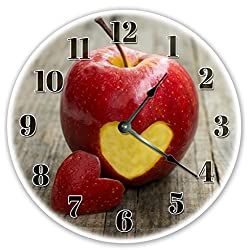 EasySells 12 TEACHER APPLE HEART CUT OUT CLOCK - Large 12 inch Wall Clock - Printed Photo Decal