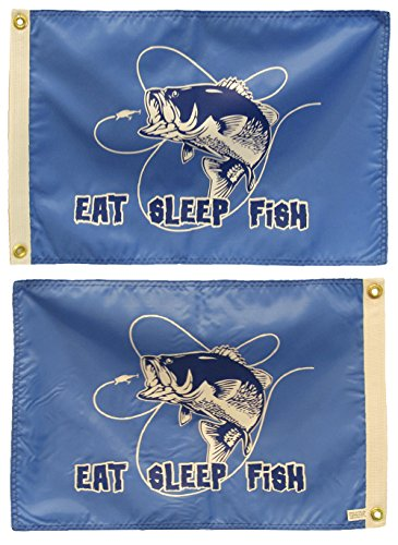 AES 12x18 Eat Sleep Fish Bass Fishing Blue Double Sided Nylon Flag 12