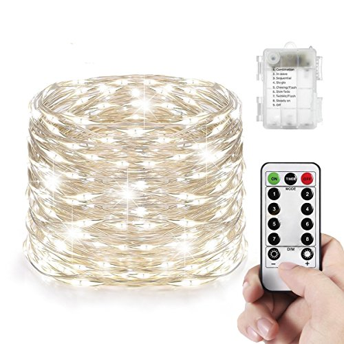 Led String Lights White Light, FengNiao Fairy String Lights with remote, Battery Operated 8 Modes Twinkling Firefly Lights, 33ft 100 Copper Wire Led Lights for Christmas Wedding Bedroom(Cool White) (100 Fireflies)