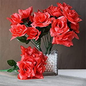 Tableclothsfactory 84 Artificial Open Roses Wedding Flowers Bouquets - Coral 91