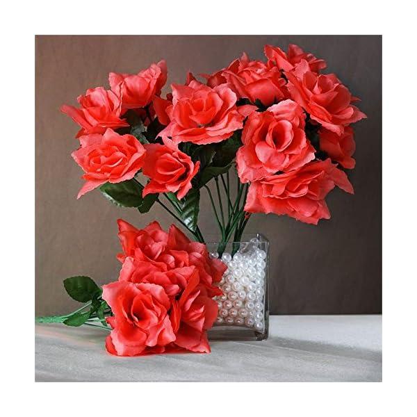 BalsaCircle 252 Coral Silk Open Roses – 36 Bushes – Artificial Flowers Wedding Party Centerpieces Arrangements Bouquets Supplies