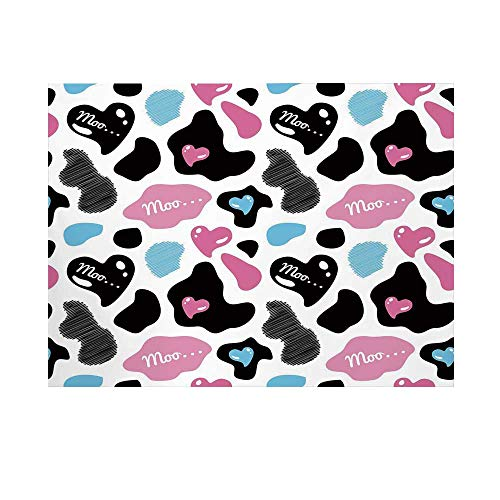 Cow Print Photography Background,Lovely Cow Hide with Cute Hearts Moo Barnyard Love Abstract Design Backdrop for Studio,10x10ft