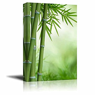 Green Bamboo Stalks and Leaves Wall Decor, Quality Artwork, Pretty Piece