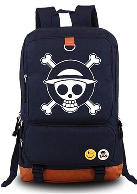 Cosstars Anime One Piece Luminoso Mochilas de a Diario Backpack Bolso de  Escuela Negro Azul 24f76120bae