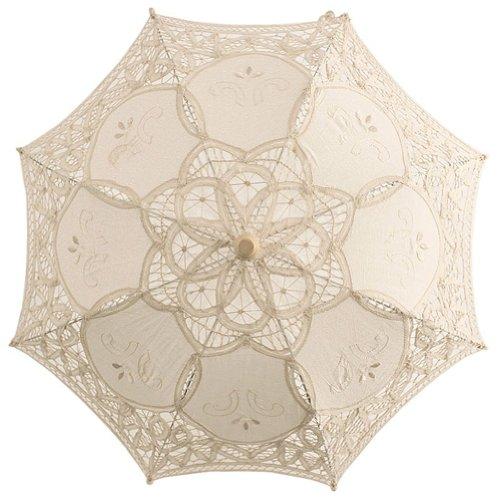 elgian Ivory Lace Wedding Umbrella Sun Parasol Flower Girl Bridal Party Decor (Belgian Lace)