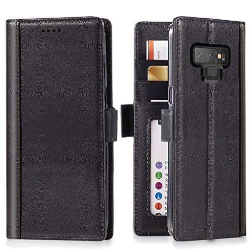 Galaxy Note 9 Wallet Case Leather - iPulse Journal Series Italian Full Grain Leather Handmade Flip Case for Samsung Galaxy Note 9 with Magnetic Closure - Black