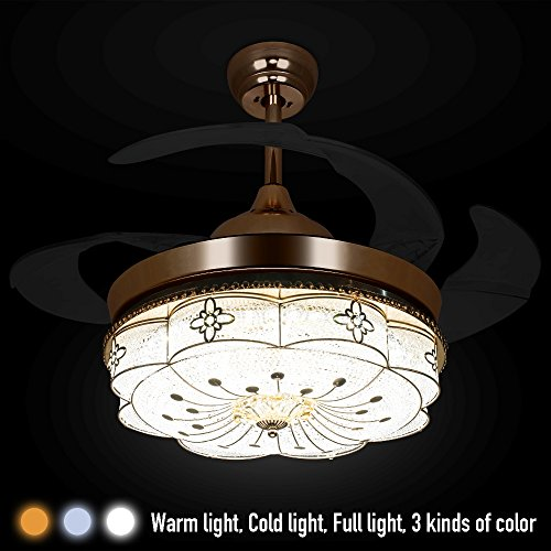 Colorled Invisible Ceiling Fans Living Room Remote Control