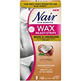 Nair Wax Ready Strips for Bikini & Underarm with Coconut Milk Oil, 32 Strips + 3 Finishing Wipes