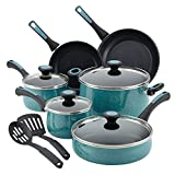 Paula Deen 12pc Aluminum Nonstick Pots Pans Cookware Set Blue Teal Deal