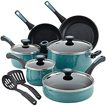 Paula Deen 16981 Riverbend Nonstick Cookware Pots and Pans Set, 12 Piece, Gulf Blue Speckle