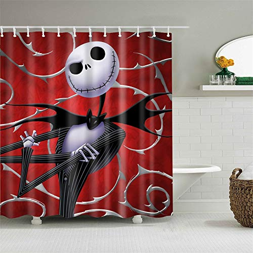 Shower Curtain Set with Hooks Ghost Custom the Nightmare Before Christmas Bathroom Decor Mildew Resistant Antibacterial Waterproof Polyester Fabric Bathroom Accessories Bath Curtain 72 x 72 inches
