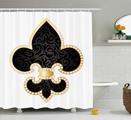 - Ambesonne Fleur De Lis Shower Curtain, Royal Lily France Empire Family Insignia Design Image, Cloth Fabric Bathroom Decor Set with Hooks, 70