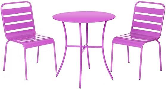 Conjunto de Mesa y sillas de jardín Lila de Acero - LOLAhome: Amazon.es: Hogar