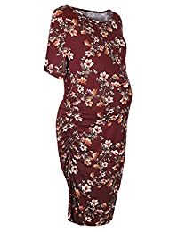 Smallshow Ruched Maternity Dress Short Sleeve Baby Shower Clothes for Pregnancy