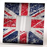 UK Flag Union Jack Wall Framed Mirror Aged Fan Art Home Patriotic British Decor Printed Design Gift