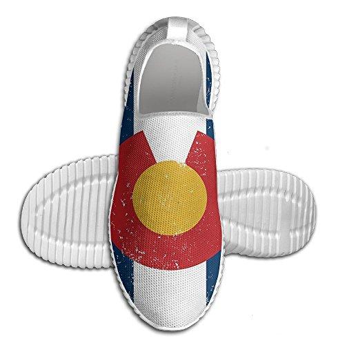 Mocassino Vintage Colorado Bandiera Donna Mocassino Uomo Scarpe Da Corsa Mesh Traspirante Outdoor Sport Scarpe Da Passeggio Bianco