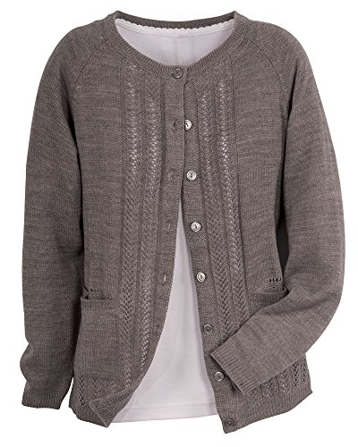 National Classic Cardigan Sweater, Heather Gray, Petite ()