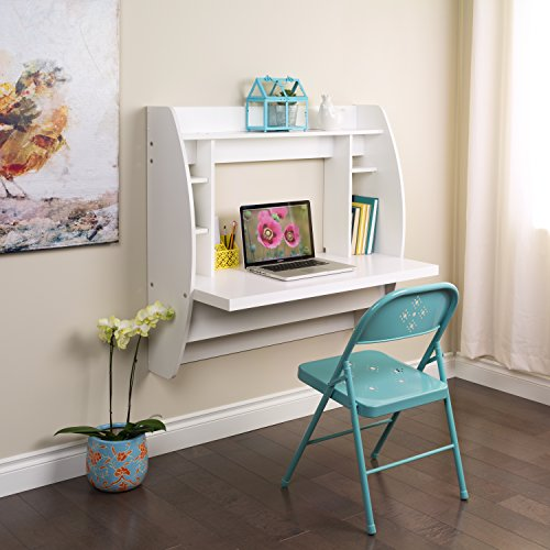 Prepac Wall Mounted Floating Desk with Storage in White images