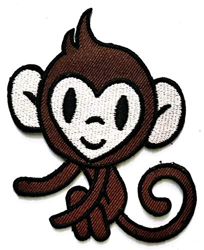 Nipitshop Patches Brown sit Monkey ape Chimp Retro Logo Movie Cartoon Kid Patch Symbol Jacket T-Shirt Patch Sew Iron on Embroidered Sign Badge -