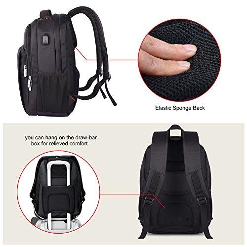 "Vbiger impermeable Anti-robo Mochila de carga USB para portátiles de hasta 14"" (Negro) Negro"