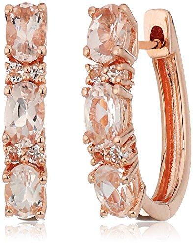 - Rose Gold-plated Silver Morganite Small Hoop Earrings