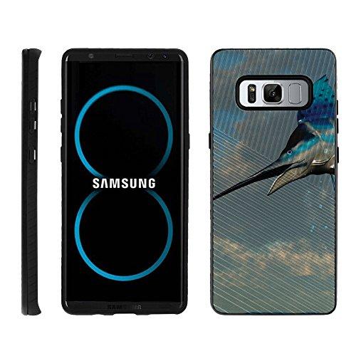 TurtleArmor | Compatible for Samsung Galaxy Note 8 Case | N950 | Shockproof Hybrid Armor Engraved Grooves Slim Case Sea Ocean Design - Jumping Marlin ()