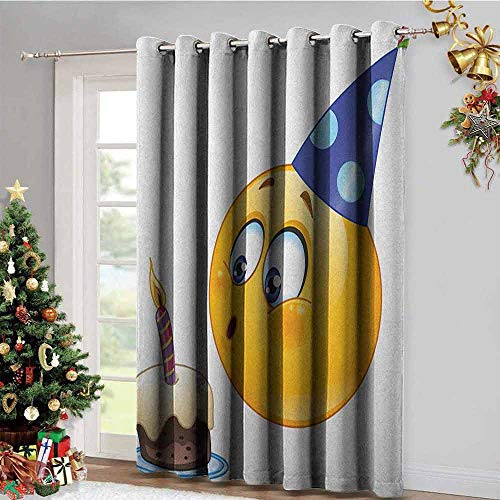 Kids Birthday Room Darkening Gromets Curtain Drapes for Girls Room, Happy Emoji Face Celebration with Cone Hat Blowing Party Cake Print Insulating Darkening Curtains, Yellow and Dark Blue, W96 x L72