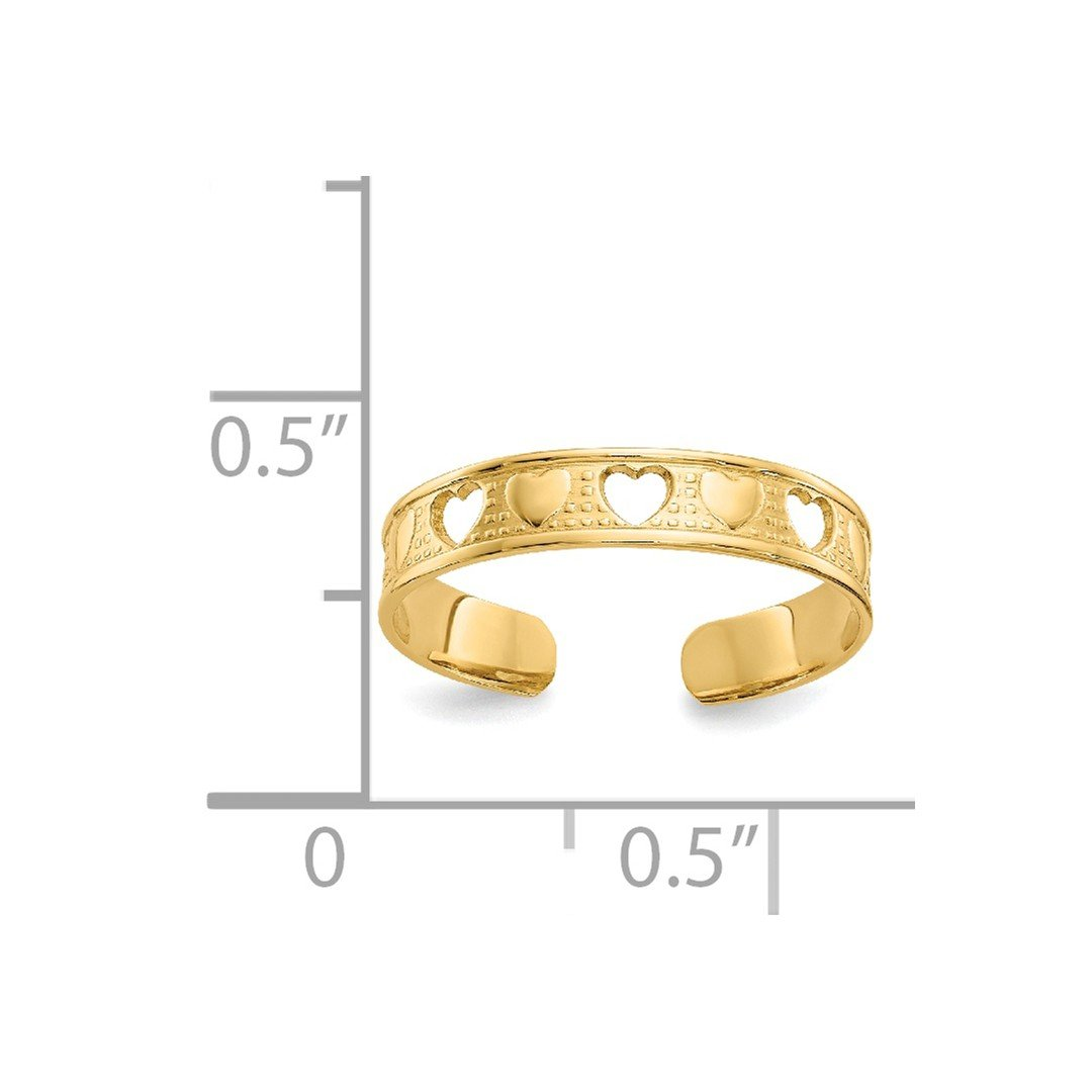 ICE CARATS 14kt Yellow Gold Heart Adjustable Cute Toe Ring Set Fine Jewelry Ideal Gifts For Women Gift Set From Heart IceCarats 3756880643789967703