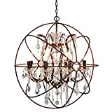 KALRI Retro Industrial Crystal Round Chandelier Light Ceiling Fixture Globe Metal Romantic Cage Style Pendant Light for Living Room, Office, Cafe, Bar and Restaurant