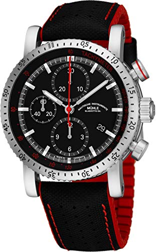 Muhle Glashutte Teutonia Sport I Mens Automatic Chronograph Watch - Black Face with Date, Tachymeter Scale and Sapphire Crystal - Precision Watch Made in Germany M1-29-63 NB