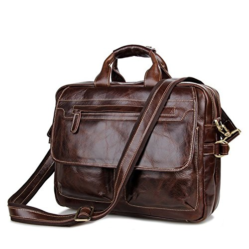 Vintage Leather Men's 15'' Laptop Briefcases Messenger Shoulder Bag by UBAYMAX