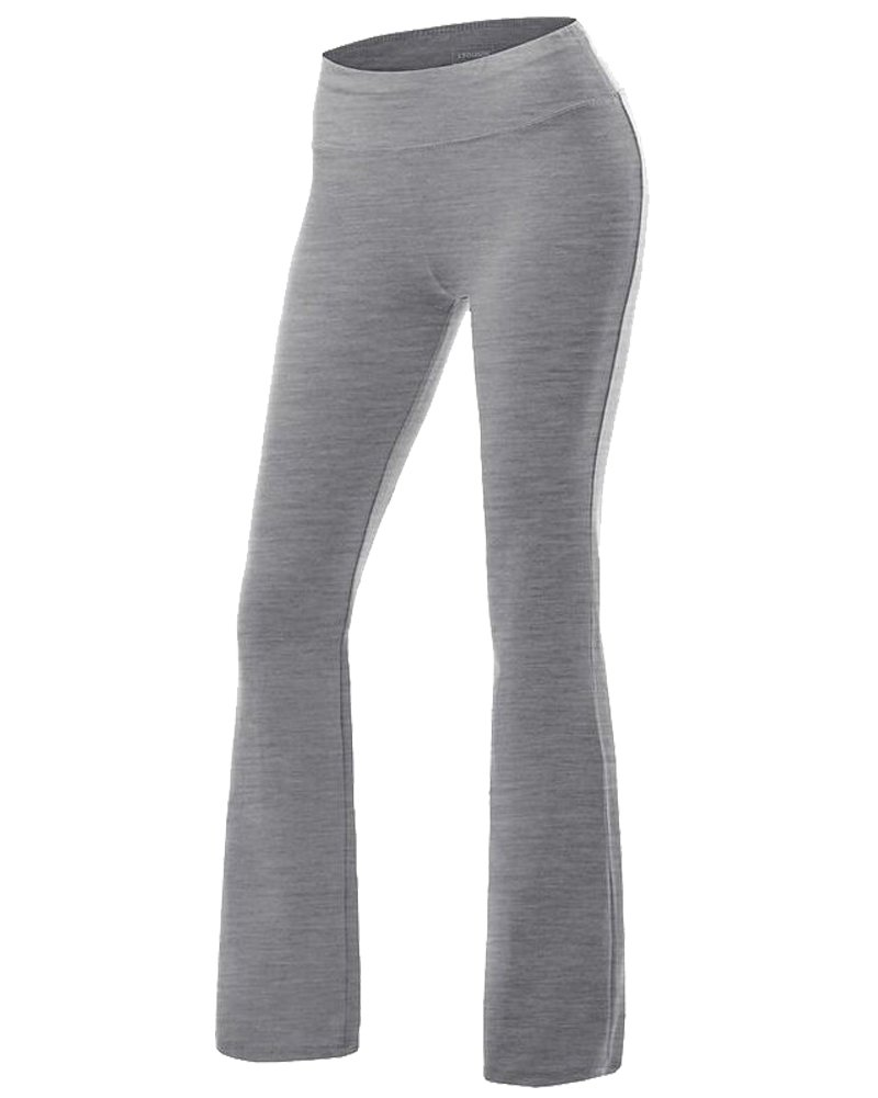 Grey Women's Yoga Pants Tummy Control Workout Running 4 Way Stretch Boot Leg Yoga Pants