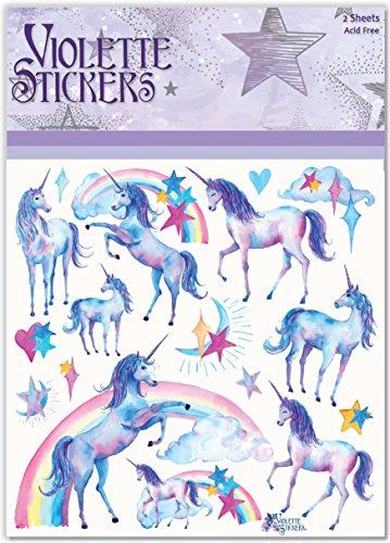 Violette Stickers Blue Unicorn & Rainbows