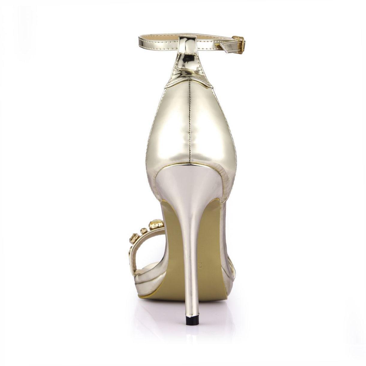Best 4U® Frauen Sommer Sandalen Schuhe Premium PU Runde Runde Runde Zehe 12 CM Hohe Metall Heels Strass Gummisohle Eine Schnalle Schuhe - 941956
