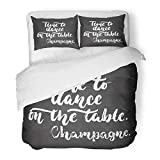 Emvency 3 Piece Duvet Cover Set Brushed Microfiber Fabric Breathable Time to Dance on The Table Champagne Lettering Dancing Calligraphy Quote Drawn Bedding Set with 2 Pillow Covers Full/Queen Size