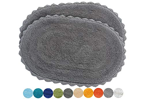 Urban Style Decor Bath Rugs Set of 2 100% Soft Reversible Crochet Border Cotton Bathmat Hand Tufted Non Slip 2200 GSM Quality Oval 17 x 24/17 x 24 Set Charcoal